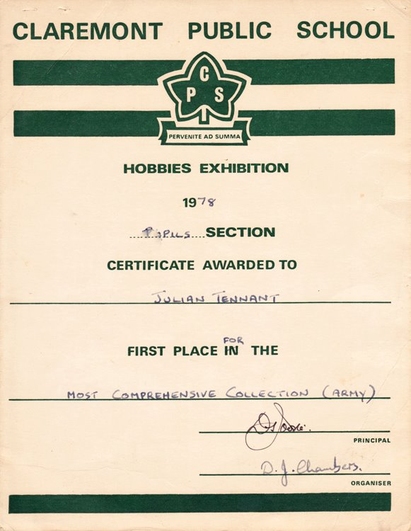 Claremont Public School certificate for best collection