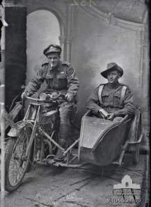 Portrait of two Australian soldiers on a despatch motorcycle and sidecar. Identified on the right, in the sidecar, is 750 Lieutenant Sydney Hubert Carroll MC, 4th Machine Gun Battalion; and left, on the motorcycle, is an unidentified 4th Brigade Headquarters staff officer, also wearing a Military Cross. Taken by Louis and Antoinette Thuillier in Vignacourt, France during the period 1916 to 1918.Object TypeBlack & white - Glass original quarter-plate negativeItem IDP10550.049Source: http://www.awm.gov.au/collection/p10550.049