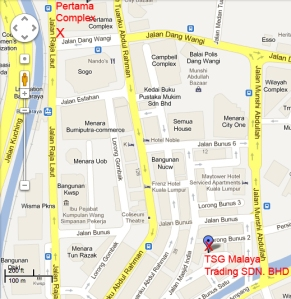 Location of Malaya Trading Co and Pertama Complex military tailors
