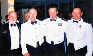 CD officers at a dining-in night at Waterhen in 1999. Two of the CD's can be seen wearing the mess dress Special Duties wing above their medal miniatures.