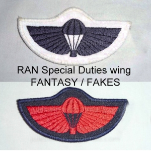 Fantasy/Fake SD parachutist wings made for the collectors market. The dealer who first posted these wings made the usual claims but has provided no evidence to substantiate the story. Subsequent investigations can find no evidence of them being requested or worn by anybody qualified to do so. Close inspection of the wing shape also indicates that it was made using the same machine used to make collectors copies of the Australian SAS wing.