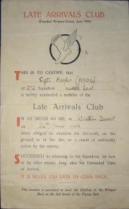 Late Arrivals Club Certificate -  Courtesy www.ww2wings.com