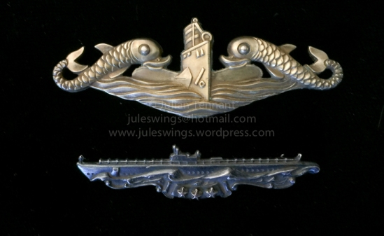 WW2 period USN officer's 'Dolphins' submarine qualification badge (manufacturer H&H, New York) and Submarine Combat Insignia with stars indicating successful completion of 4 'war' patrols (manufacturer AMICO, New York).
