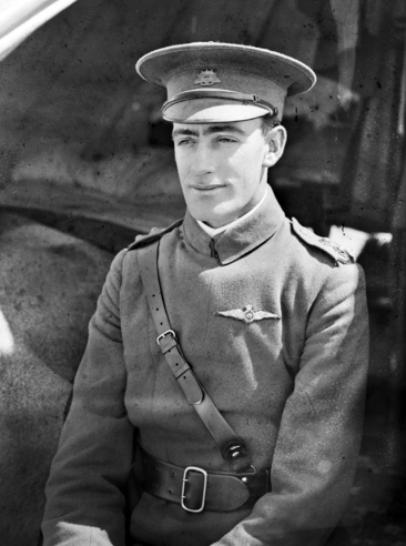 Lt Frank H McNamara outside his tent at the Central Flying School (CFS) at Point Cook, Victoria, shortly after graduating as a pilot in October 1915.