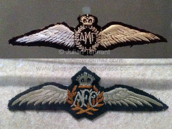 The first pattern Australian Military Forces (AMF) wings of the type issued to Frank McNamara upon graduation and as seen in the photograph above. The later issue Australian Flying Corps (AFC) pilot wings are below.