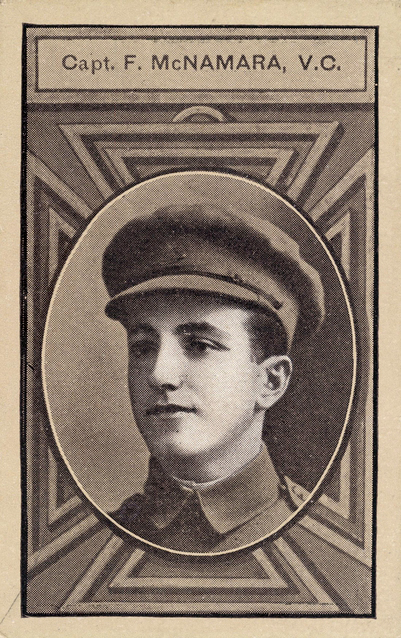 Cigarette card showing a portrait of Captain Frank Hubert McNamara VC. Part of a series of cards depicting Australian VCs printed by Sniders and Abrahams.