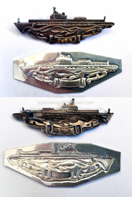 Comparison of the original Sheridan type 1 Submarine Combat Insignia (top) and the recently manufactured restrike. Note the differences in fine detail and finish.