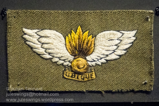 The original Air Observation Post badge designed by Capt. J.R. Ingram (Royal Artillery) of 657 Air OP Sqn and embroidered by the Royal School of Needlework in 1940. It was submitted as a design for an Air OP pilot's flying badge, but the war office had already decided to have one Army Flying Badge for both the Air OP and Glider pilots and so it was not approved.