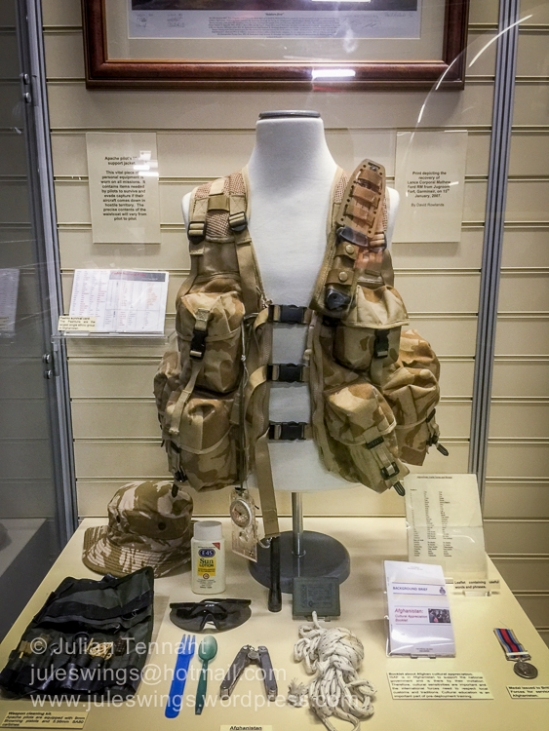 Apache pilot's life support jacket and associated items used in Afghanistan.