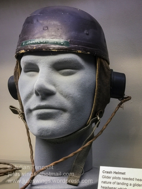 Glider Pilot crash helmet belonging to Staff Sergeant 'Jock' East GPR who served in Sicily and Arnhem. These helmets combined a fibre motorcycle helmet and a flying helmet with headphones for communications.
