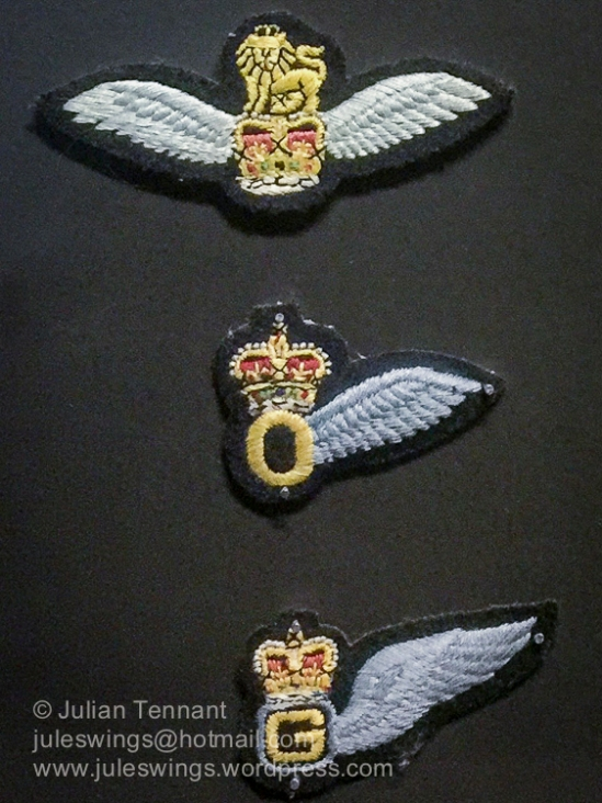 On 1st September 1957, the AOP Squadrons and Glider Pilot Regiment amalgamated to form the present day Army Air Corps. AAC pilots wear the Army Flying Badge (top). The middle brevet is for Observers and the bottom badge is the Air Gunner's brevet.