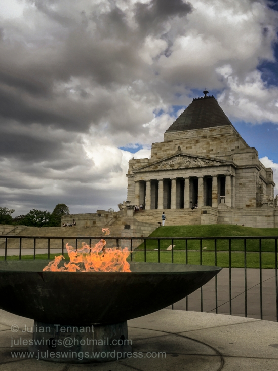 The Eternal Flame near the footsteps of Victoria's Shrine of Remembrance.