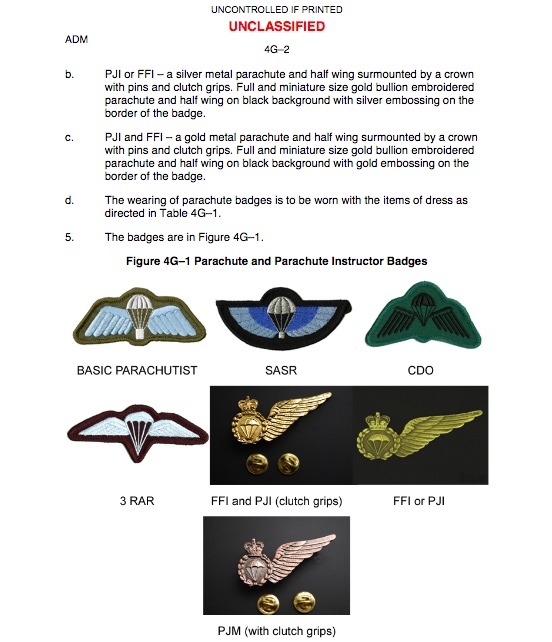 Australian Army Dress Manual: Chapter 4 – Badges & Emblems