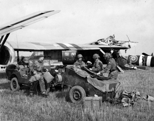 Paratroops of 1st Airlanding Brigade disembark from their gliders on the outskirts of Arnhem, 17 September 1944. Photograph by Sergeant D M Smith, Army Film and Photographic Unit. [National Army Museum Image number: 106458]