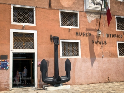 Front entrance to the main exhibition building for the Museo Storico Navale