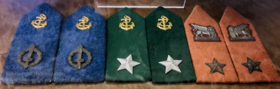 Lapel badges for officers of the X-MAS (Decima Flottiglia MAS). Blue for the 2nd Naval Unit worn between October 1943 and January 1945. Red for the Lion of San Marco Marines Green for Logistical support officers