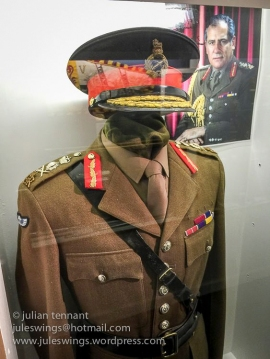 No. 2 Dress tunic of Field Marshal The Lord Guthrie of Graggy Bank. Note the ERII cypher indicating the Field Marshal is an ADC to the Queen and the SAS 'moth' para wings on the upper right arm. Photo: Julian Tennant