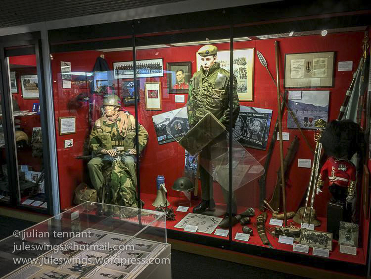 Uniforms and other artifacts related to the foot guards regiments during their deployments in the latter half of the 20th century.