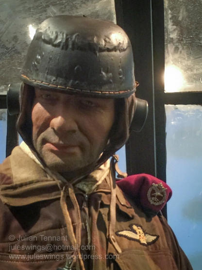 Detail of the helmet worn by a Glider pilot of the 1st Airlanding Brigade. Photo: Julian Tennant
