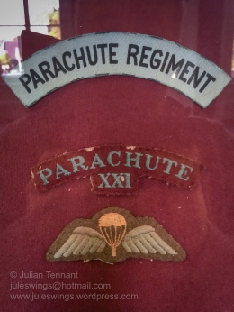 Parachutist qualification and shoulder titles of the Parachute Regiment and 21st Independent Parachute Company, which acted as the pathfinder force for the operation. Photo: Julian Tennant