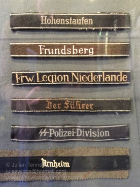 A selection of German cuff titles on display at the Airborne Museum Hartenstein. Photo: Julian Tennant