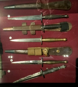 A selection of 2nd and 3rd pattern Fairbairn Sykes daggers carried by troops of the 1st Airborne Division on display at the Airborne Museum Hartenstein. Photo: Julian Tennant