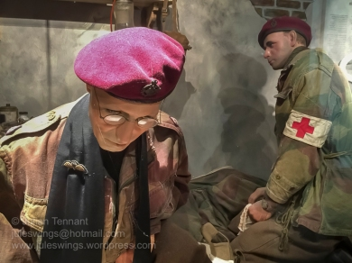Detail from the Medical Aid Post that was set up at the Hotel Hartenstein during the battle. Note the bullion parachute wings on the chaplain's sash. An interesting touch, but I am not sure that bullion wings were used during WW2. Photo: Julian Tennant