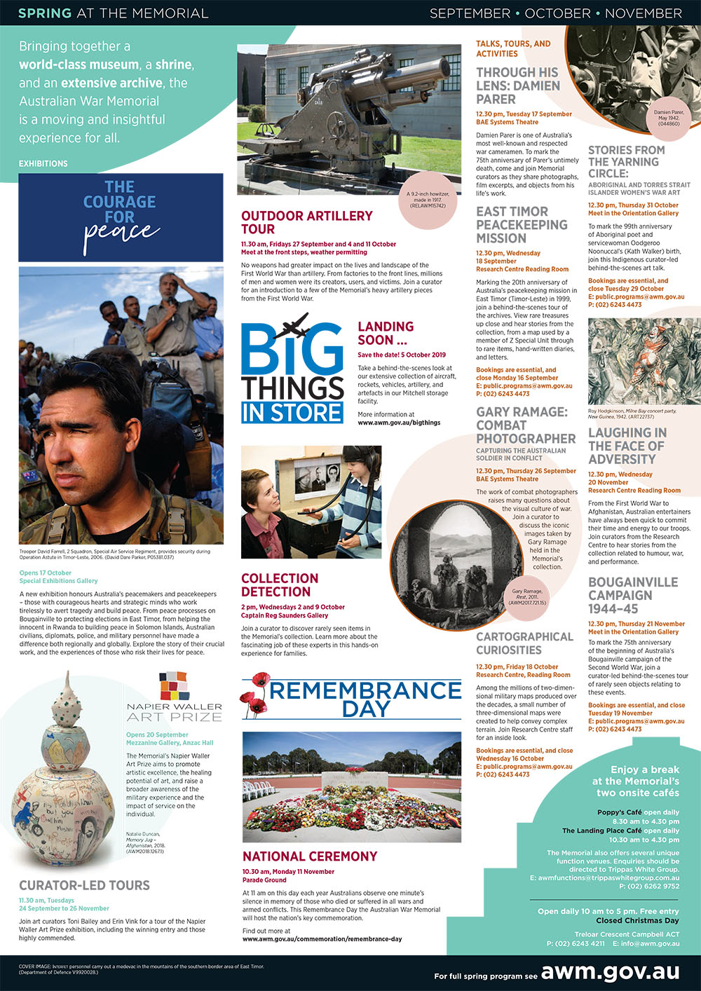 Australian War Memorial event calendar for Spring (September to November) 2019.
