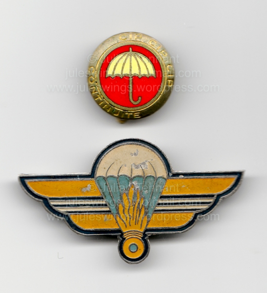 Two of the first Vietnamese parachutist units. Top: French (Drago) manufactured miniature badge for the 1st Indochinese Parachute Company (1er Compagnie Indochinoise Parachutiste - 1 CIP) which existed between 1947 and 1951. Like the Mary Poppins Platoon insignia, this badge also features an umbrella in place of the parachute. Whether the connection between the two is intentional or coincidental is unknown. Bottom: Local made badge fo the Escadron Parachutiste de la Garde Cochinchine which was raised in Hanoi in 1949. Both these units became part of the nucleus of the newly formed 1st Vietnamese Parachute Battalion (1 BPVN) on the 1st of August 1951. Collection: Julian Tennant