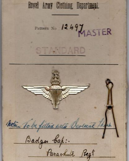 The original Royal Army Clothing Department sealed pattern card for the Parachute Regiment cap badge from March 1943.