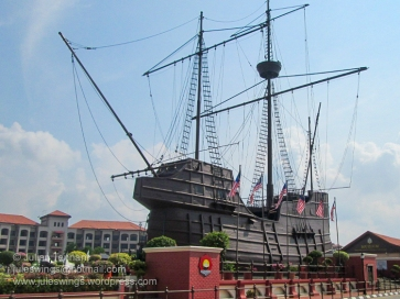 The concrete and timber replica of the Portuguese ship, the Flor de la Mar which serves as the home for the Maritime Museum of Malacca