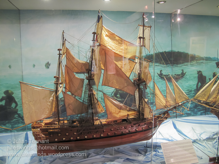 One of the model ships on display below the decks of the Flor de La Mar at the Maritime Museum of Malacca.