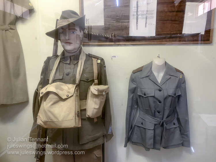 World War 2 period uniform of the 2/23rd Infantry Battalion (left) and Royal Australian Army Nursing Corps officers tunic circa 1945 (right). Photo: Julian Tennant