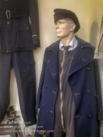 World War 2 period RAAF winter greatcoat belonging to WJ (Bill) Allen who served in the Battle of Britain as an Air Gunner and finished his war service in 1945 with the rank of Flight Lieutenant. Photo: Julian Tennant