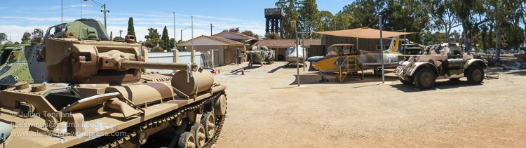 View of the open air exhibits at the Merredin Military Museum. Some of the vehicles on display include a Mk III Valentine tank, Staghound armoured car, Aermacchi MB-326H jet, UH-1H and Bell 206B-1 Kiowa helicopters and a M113 Armoured Personnel Carrier. Photo: Julian Tennant