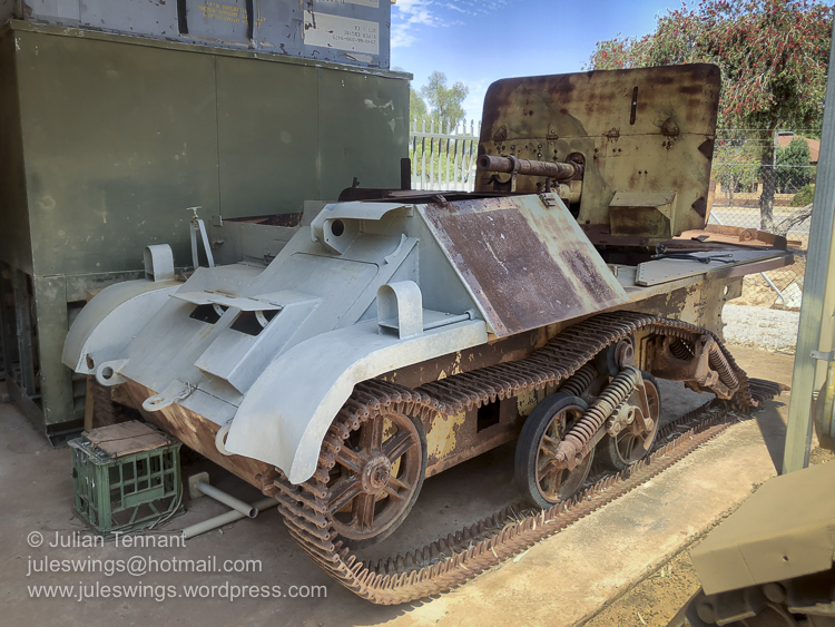 One of the more unusual vehicles undergoing restoration at the Merredin Military Museum. This is a modified Bren Gun Carrier which has been converted to carry a 2 Pounder Anti-Tank gun manufactured by General Motors in South Australia. Photo: Julian Tennant