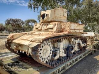 Australian M3 Stuart tank undergoing restoration at the Merredin Military Museum. Photo: Julian Tennant