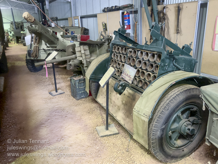 A WW1 period 18 Pounder wagon/limber that had been converted to be used with the 25 Pounder gun (as seen in the background) due to the shortage of purpose built limbers for these artillery pieces. The limbers had new axel bars, truck tyres, breaks and mud-guards added. These went on to serve in the Middle East and Pacific Campaigns. Photo: Julian Tennant