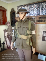 First World War Australian medics uniform in the WW1 room at the Merredin Military Museum. Photo: Julian Tennant