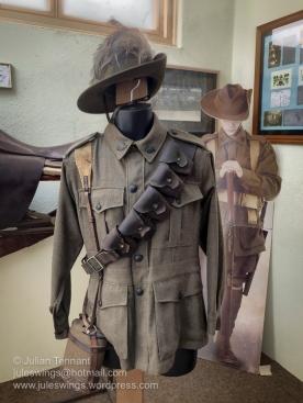 First World War Australian Light Horse uniform in the WW1 room at the Merredin Military Museum. Photo: Julian Tennant