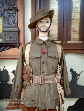 First World War Australian Imperial Force digger's uniform in the WW1 room at the Merredin Military Museum. Photo: Julian Tennant