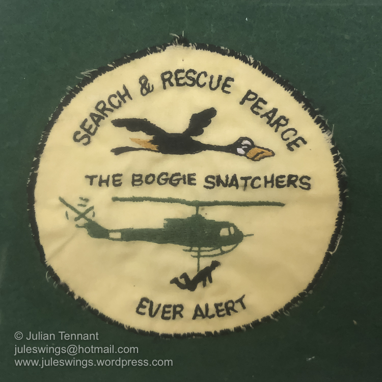 A very rarely seen RAAF Search & Rescue patch from the RAAF Base Pearce near Perth. Photo: Julian Tennant
