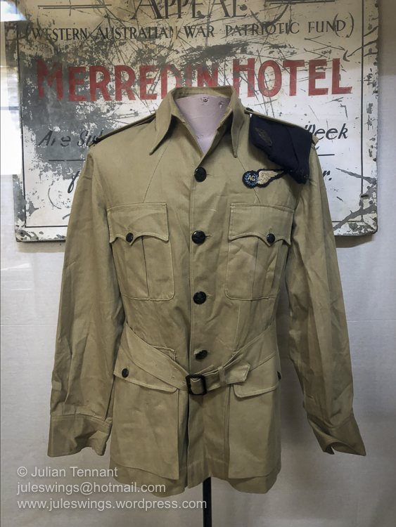 World War 2 period RAAF Air Gunner's tunic and sign from the old Merredin Hotel. Photo: Julian Tennant