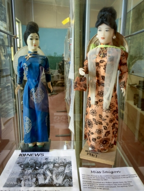 Dolls in Vietnamese national dress presented to Australian troops as a token of gratitude from the Government of the Republic of Vietnam. For many, these dolls are best known as the 'award' that was presented to members of Delta Company 6 RAR after the Battle of Long Tan in 1966 after the Australian Government denied the Vietnamese Government's request to award them gallantry medals after the battle. The dolls were, however, given to many Australian servicemen, not just the Long Tan participants. Photo: Julian Tennant.