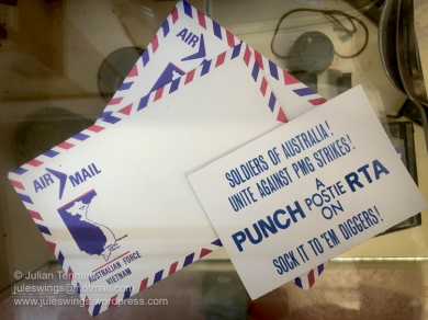 Australian Armed Forces Vietnam airmail envelopes and an anti-union card which originated after the postal union urged its members not to send mail to the servicemen in Vietnam. Photo: Julian Tennant