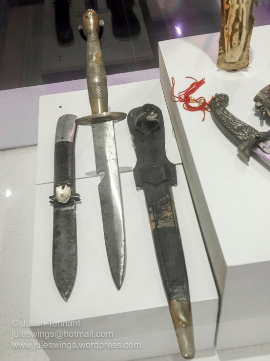 Royal Malaysian Customs Department Museum (Muzium Jabatan Kastam Diraja Malaysia). Knives seized by Malaysian Customs. The brass handled dagger design appears to have been influenced by aspects of the Fairbairn Sykes commando stiletto.