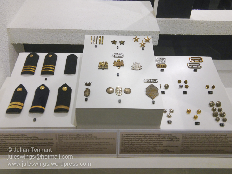Royal Malaysian Customs Department Museum. Rank and identifying insignia worn by Customs Department officials.