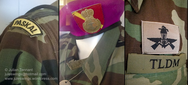Insignia detail of a uniform worn by members of the Malaysian Naval Special Operations unit, Pasukan Khas Laut, more commonly known as PASKAL.