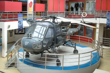 Royal Malaysian Navy Museum (Muzium Tentera Laut Diraja Malaysia). Westland-Wasp HAS Mk1 helicopter in the atrium of the museum