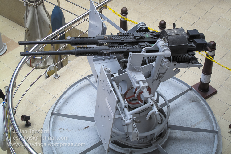 Royal Malaysian Navy Museum (Muzium Tentera Laut Diraja Malaysia). Anti-Aircraft gun on display in the museum atrium.